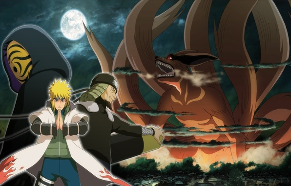 Картинка moon, game, anime, man, ninja, asian, mask, Uchiha, manga, shinobi, japanese, Namikaze Minato, Sarutobi Hiruzen, ...