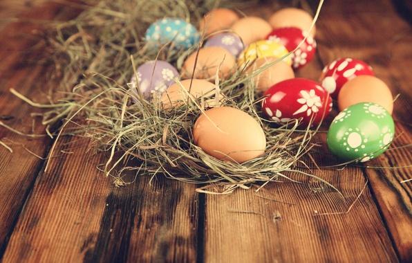 Картинка яйца, пасха, сено, крашенки