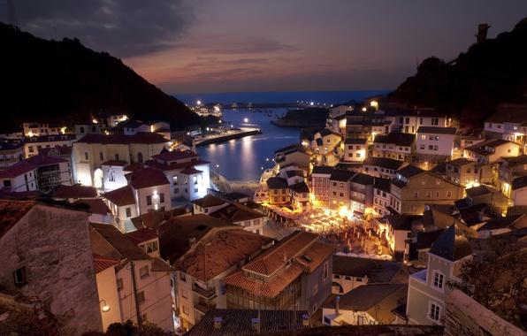 Картинка море, пейзаж, горы, город, дома, вечер, городок, архитектура, Испания, Spain, кафе., hauses, Citiy