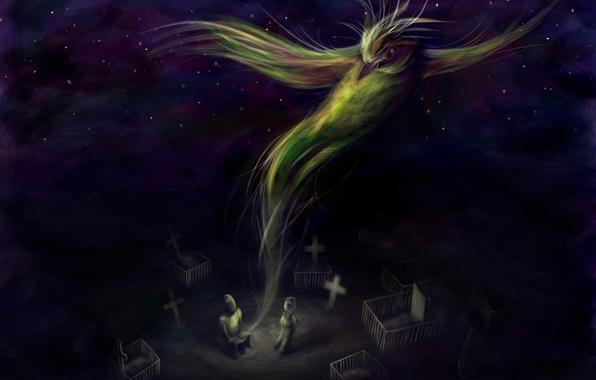 Картинка тьма, птица, крест, кладбище