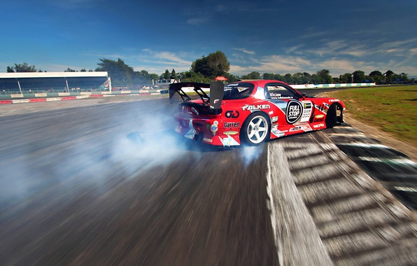 Картинка Mazda, Red, Drift, Sky, Smoke, RX-7, Tuning, Sportcar, competition