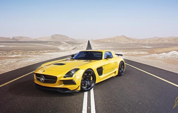 Картинка Mercedes-Benz, Sky, AMG, SLS, Yellow, Road, Supercar, Black Edition, Desert