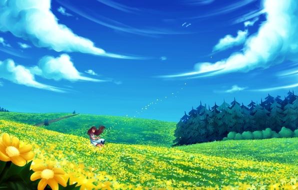 Картинка поле, лес, лето, девушка, облака, цветы, ветер, арт, ель. дорога