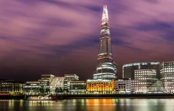 Картинка вода, свет, ночь, город, огни, отражение, река, Англия, Лондон, здания, дома, Великобритания, Темза, небоскрёб, London, …
