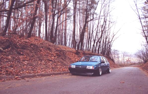Картинка дорога, машина, деревья, природа, обои, тачка, ведро, wallpapers, девятка, 2109, ваз, лада, таз