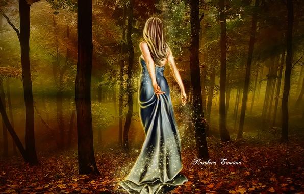 Картинка лес, листья, девушка, деревья, магия, волосы, спина, огоньки, платье, арт