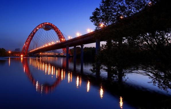 Картинка дорога, небо, вода, свет, деревья, пейзаж, ночь, lights, огни, фото, города, освещение, мосты, road, river, …