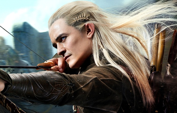 Картинка лес, эльф, выстрел, лук, стрелы, колчан, лучник, Орландо Блум, Orlando Bloom, elf, Legolas, Хоббит, The …