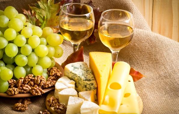 Картинка лист, вино, сыр, бокалы, виноград, орехи, wine, nuts, grapes, cheese