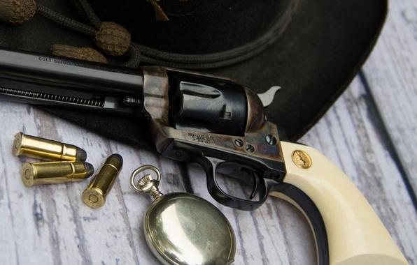 Картинка оружие, часы, шляпа, патроны, револьвер, Colt, Action Army