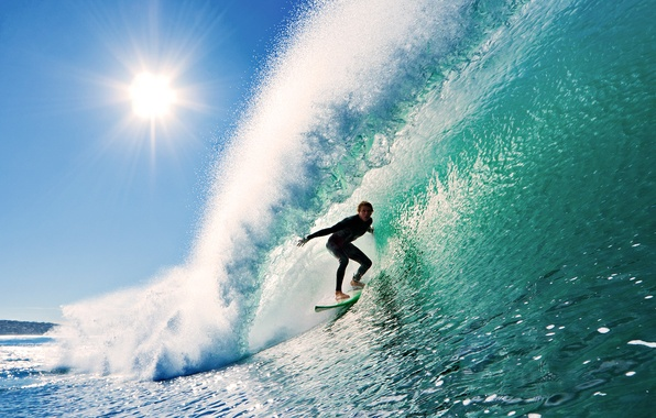 Серфинг волна солнце небо обои фото