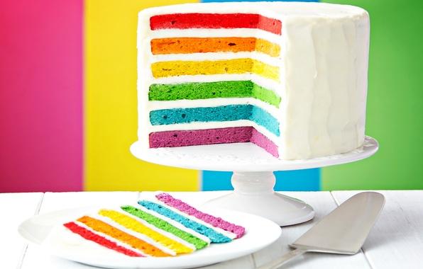Фото обои радуга, торт, Happy, cake, День Рождения, colorful, rainbow, Birthday