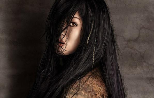 Картинка взгляд, девушка, лицо, рисунок, тату, арт, длинные волосы