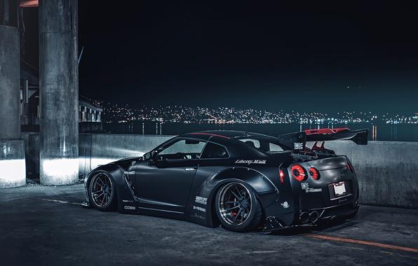 Картинка City, Japan, Nissan, GT-R, Car, Black, Matte, R35, Sport, Low, Rear, Liberty, Nigth