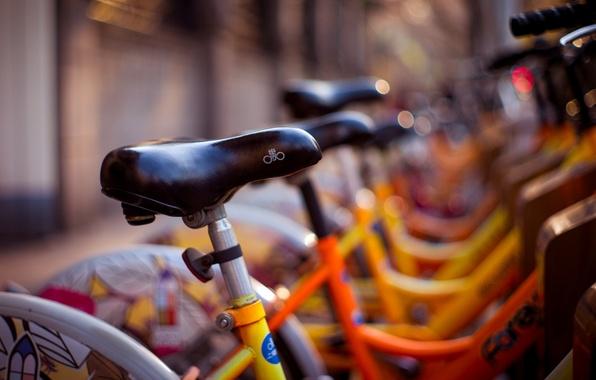 Картинка желтый, велосипед, фон, widescreen, обои, улица, размытие, wallpaper, bicycle, разное, широкоформатные, background, велосипеды, боке, полноэкранные, …