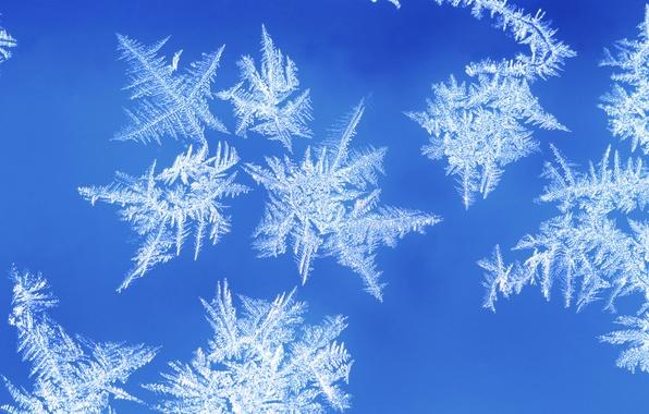 Картинка зима, иней, снежинки, узор, окно, мороз