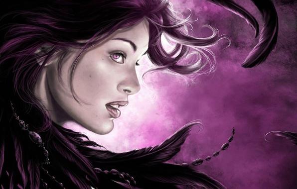 Картинка глаза, взгляд, девушка, лицо, фон, волосы, перья, губы, бусы, профиль, летают