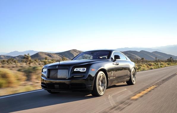Картинка дорога, небо, скорость, Rolls-Royce, автомобиль, шикарный, Роллс-Ройс, Wraith, Black Badge