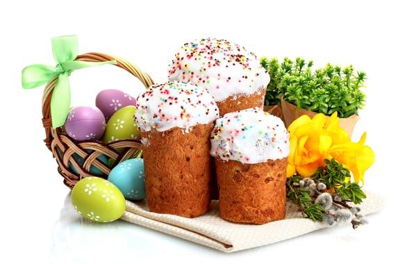 Картинка цветы, яйца, весна, Пасха, cake, кулич, flowers, Easter, eggs, holiday, blessed