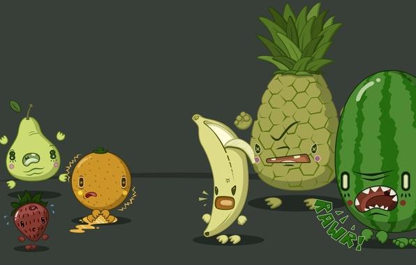 Картинка ягоды, ситуации, апельсин, юмор, арбуз, груша, фрукты, ананас, банан, большие, situations, маленикие