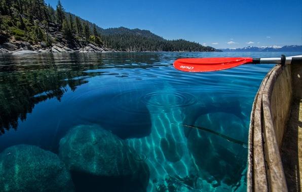 Картинка небо, вода, прозрачность, горы, озеро, лодка, весло
