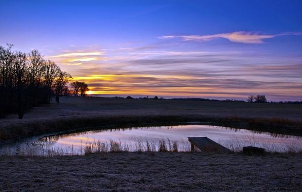 Картинка пейзаж, закат, мост, пруд