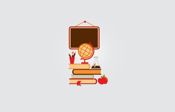 Картинка книги, яблоко, карандаш, доска, школа, кисть, глобус, центр, закладка, учебники, пробирка