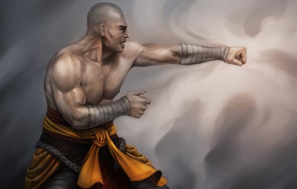 Картинка арт, удар, монах, мужчина, боец, Lucas Torquato de Resende