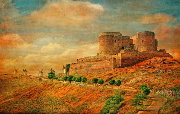 Картинка дорога, небо, облака, замок, холмы, башня, Испания, холст, ветряная мельница