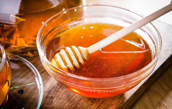 Картинка чай, мед, ложка, чашка, доска, мёд, пиала