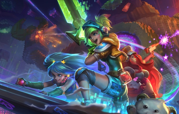 Картинка League of Legends, fan art, Bounty Hunter, Riven, sona, Miss Fortune, Maven of the Strings, …