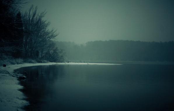Картинка зима, лес, деревья, природа, река, пейзажи, раннее утро