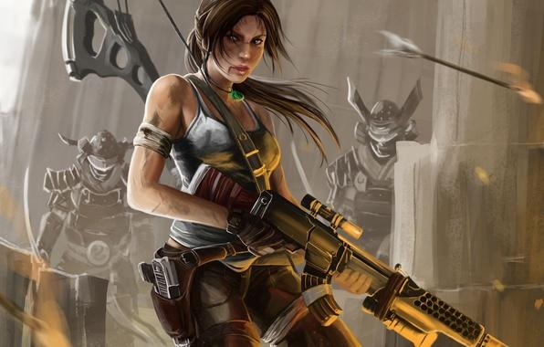 Картинка девушка, лук, арт, автомат, стрела, tomb raider, Lara Croft, враги, reborn, Peter Balogh