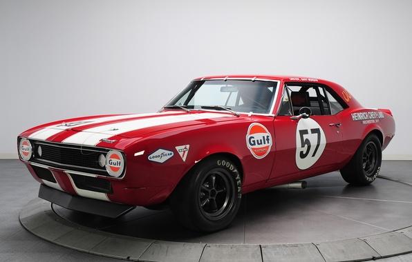 Картинка машина, красный, Chevrolet, Camaro, мускул кар, передок, Race Car, Z/28, Pre Production Trans Am