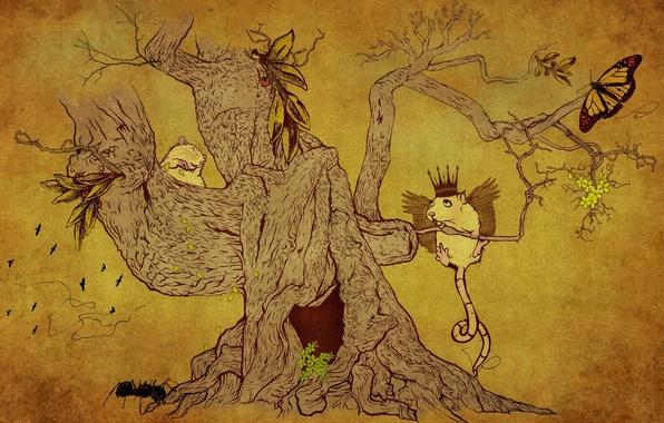 Картинка животные, рисунок, Дерево