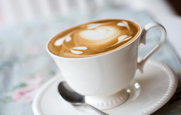 Картинка пена, узор, кофе, молоко, ложка, чашка, напиток, капучино, блюдце