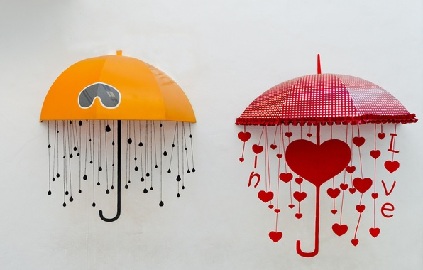 Картинка желтый, красный, зонтик, фон, widescreen, обои, настроения, сердце, зонт, зонтики, зонты, wallpaper, сердечко, umbrella, широкоформатные, ...