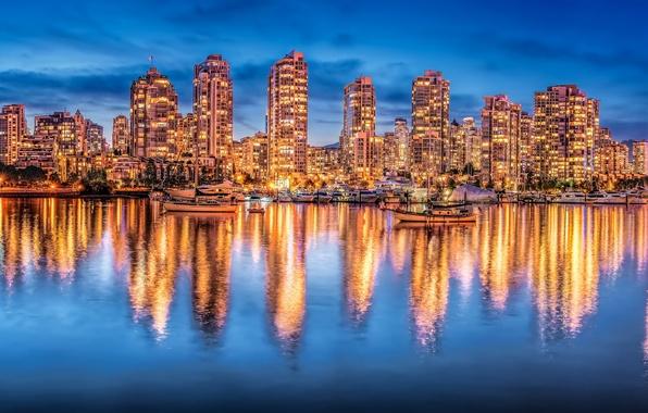 Картинка отражение, здания, яхты, Канада, панорама, Ванкувер, Canada, ночной город, British Columbia, Vancouver, Британская Колумбия, Залив …