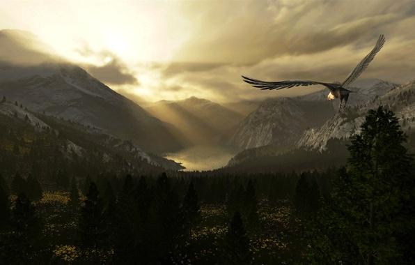 Картинка горы, озеро, долина, полёт, орёл, mountains, lake, eagle, Valley of dreams