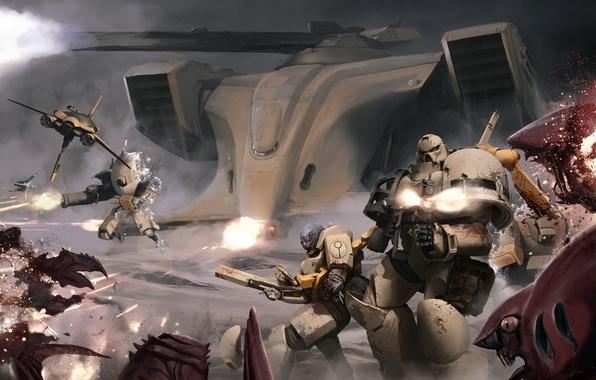Картинка бой, warhammer, космодесант, тираниды, space marines, 40k, tau, тау, tyranid, XV25