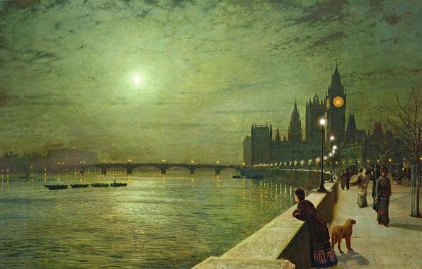 Картинка ночь, мост, река, люди, луна, Лондон, башня, собака, картина, лодки, фонари, Биг Бен, набережная, парапет, …