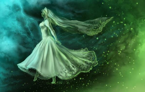 Картинка девушка, фантастика, арт, призрак, профиль, невеста, белое платье