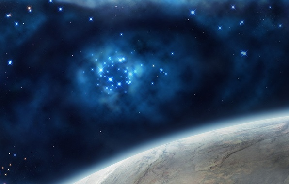 Картинка космос, звезды, вселенная, планета, арт