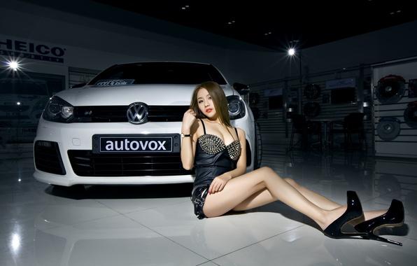 Картинка машина, авто, девушка, модель, Volkswagen, Girl, азиатка, автомобиль, Body, korean model