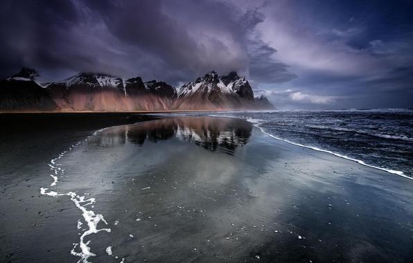 Картинка пляж, горы, Исландия, черный песок