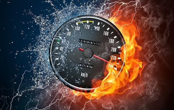 Картинка вода, капли, брызги, стиль, огонь, пламя, дым, скорость, разряд, Спидометр