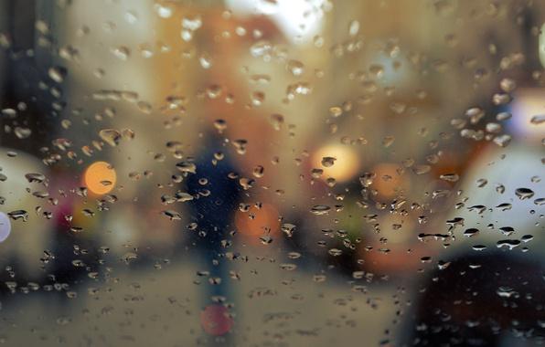 Картинка осень, стекло, капли, город, огни, дождь, человек, силуэт, боке