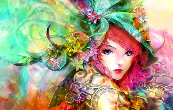 Картинка взгляд, девушка, арт, живопись, красные волосы, лицо. цветы