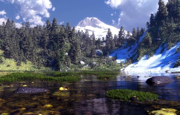 Картинка трава, вода, облака, снег, горы, природа, озеро, камни, арт