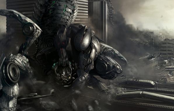 Картинка город, фантастика, атака, робот, вертолеты, разрушение, военные, выстрелы